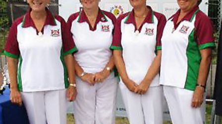 Pauline Taylor, Val Christiaans, Dena Roberts and Lesley Tutt of Harpenden Bowls Club at the 2018 Bo