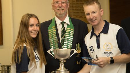 Chloe Brett (left) and father Nick (right) were beaten in the Mixed Pairs final at Skegness.