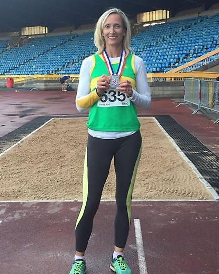 Jo Abel of Hunts AC earned a silver medal at the British Masters Championships.