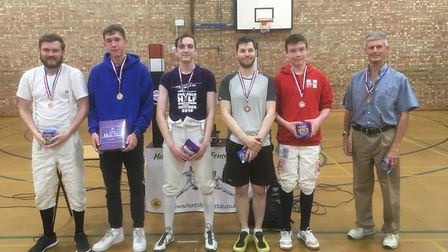 Huntingdonshire Fencing Club member Dan Summerfield with other top performers at the Great Yarmouth
