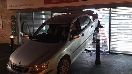 The car in the side of Spar in Warboys. Picture taken by Michael Carey