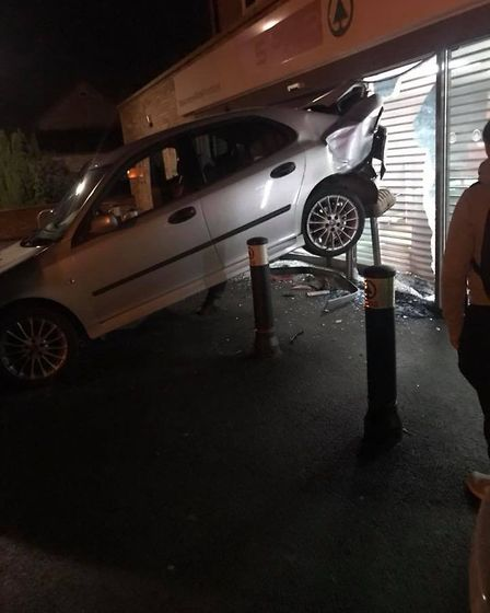 Car in the side of Spar in Warboys. Picture taken by Michael Carey
