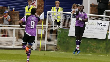 David Moyo and Ralston Gabriel celebrate the opening goal of the game. Picture: Leigh Page