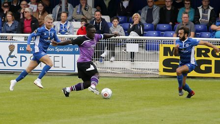 Solomon Sambou in action against Billericay Town. Picture: Leigh Page