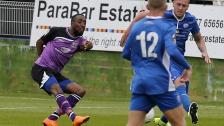Ralston Gabriel drills the ball into the back of the net. Picture: Leigh Page