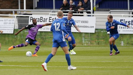 Ralston Gabriel puts St Albans City into a two-goal lead. Picture: Leigh Page
