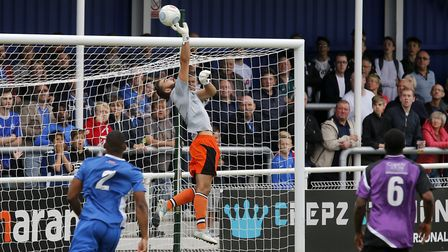 Dean Snedker tips the ball over the bar. Picture: Leigh Page