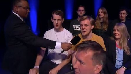 The man in the back row and the Hilfiger t-shirt was spotted mouthing 'bollocks to Brexit' directly