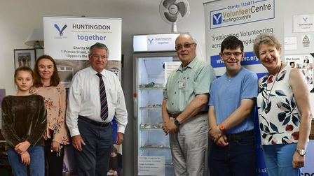 Members of the Huntingdon together team with their new fridge, from left: Macie Cameron-White, Emma