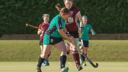 Helen Clarke's double-strike was not enough to earn victory for St Ives Ladies 1sts. Picture: BARRY