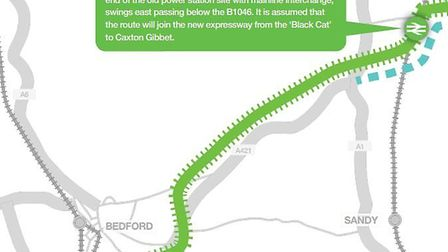 The CBRR's proposal would go via St Neots rather than Sandy. Picture: CBRR