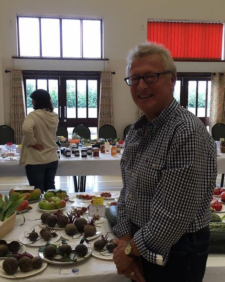 Clive Adams with his beetroot at the Alconbury Show