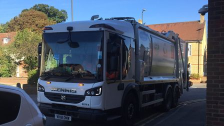 The Urbaser lorry was parked on double yellow lines in Princes Mews, Royston, causing a 'hazard' to