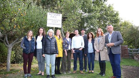 St Albans protestors join cllr Helen Campbell and cllr Salih Gaygusuz in the back garden of a Lancas
