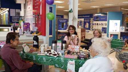 Staff at Tescos St Neots with Deputy mayor of St Neots Delphine Johnson