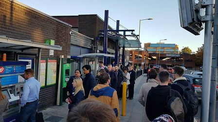 Queues outside St Albans City station this morning. Picture: Jon Grandin.