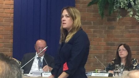 Harpenden Thameslink Commuters' Emily Ketchin presents a petition to St Albans district council. Pic