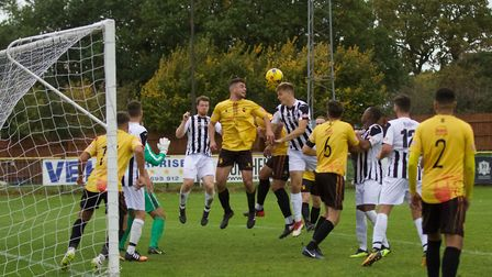 Goalmouth action from St Ives Town's defeat at Alvechurch in the Southern League Premier Division Ce