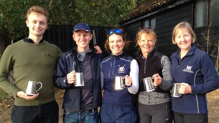 The successful St Neots rowers at the club's own Head race are, from the left, Huw Jarman, Tim Neill