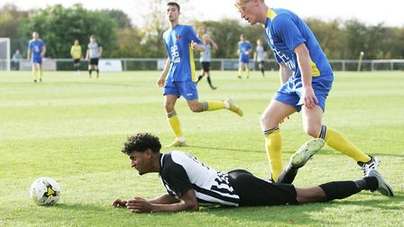 Josh Humbert was one of three men to be sent off for Colney Heath against Histon in the FA Vase repl