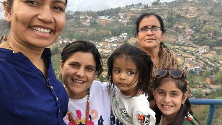 WUKA founder Ruby Raut (far left) with her family in Nepal.