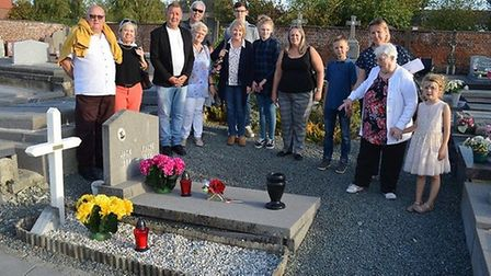 Family from England and Belgium at Jack and Emilie's grave. Picture: Courtesy of Stephen Payne