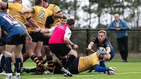 Chris West goes over for Old Albanian at Dings Crusaders. Picture: NEIL BALDWIN PHOTOGRAPHY