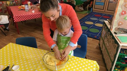 Year 2 pupils measuring out ingredients. Picture: Therfield First School
