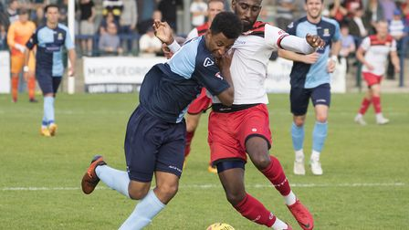 Dion Sembie-Ferris of St Neots Town in their defeat to Kettering Town. Picture: CLAIRE HOWES