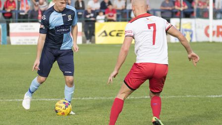St Neots Town defender Matt Miles conceded the penalty that led to Kettering Town's second goal. Pic