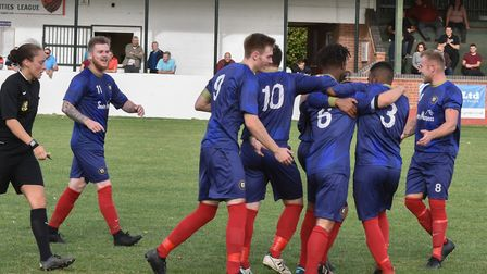 Huntingdon Town players celebrate going ahead against Bourne Town. Picture: J BIGGS PHOTOGRAPHY