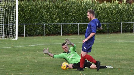 Striker Corey Kingston returned to Huntingdon Town for their draw at Bourne Town. Picture: J BIGGS P