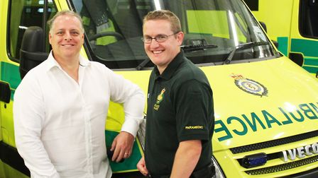Huntingdon's Paul Westerman (l) with the paramedic who helped save his life, Andy Salter (r).