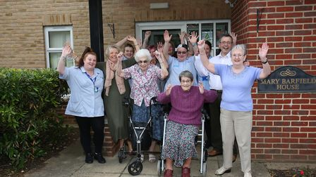 Staff and residents of Mary Barfield House celebrate being shortlisted for a care award. Picture: DA