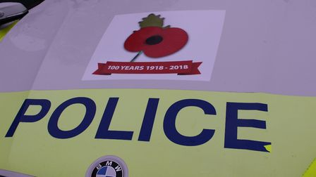 The police cars will have poppies on them remembering the end of the first world war