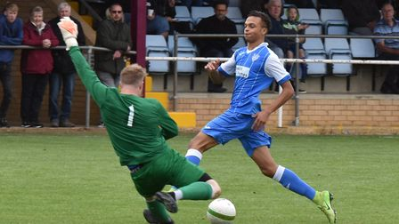 T'ai Williams threatens as Eynesbury Rovers won at Deeping Rangers. Picture: J BIGGS PHOTOGRAPHY