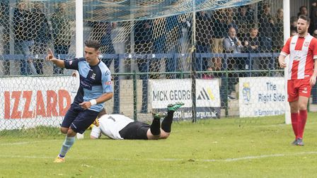 Tom Wood begins the St Neots Town comeback with their first goal against Romulus. Picture: CLAIRE HO