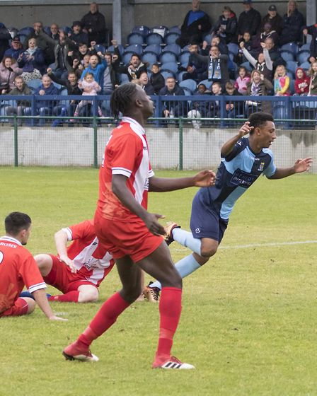 Dion Sembie-Ferris sets off in celebration after hitting St Neots Town's last-gasp FA Cup winner. Pi