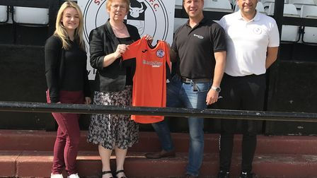 St Ives Town Ladies first-team manager Darren Marjoram (right) is pictured with, from the left, Char