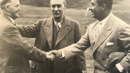 Samuel Ryder (centre) with golfers J.H. Taylor (left) and Walter Hagen. Picture: COURTESY MARY MOORE