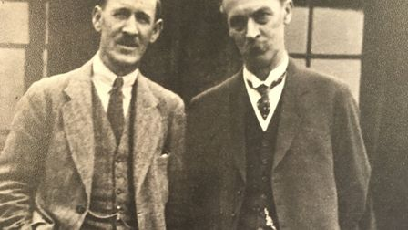 Samuel Ryder (right) with Abe Mitchell, golf pro at the Verulam Golf Club in St Albans. Picture: COU