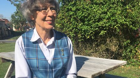 Mary Moore wearing her Ryder Cup tartan and brooch. Picture: TERRY HUNT