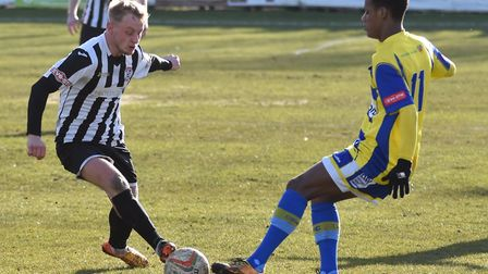 Ollie Snaith scored St Ives Town's second goal in their FA Cup replay win at Grantham. Picture: J BI