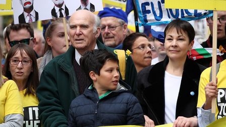 Leader of the Liberal Democrats Sir Vince Cable and Green Party MP Caroline Lucas joins with campaig