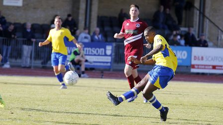Khale Da Costa tries his luck from the edge of the box. Picture: LEIGH PAGE