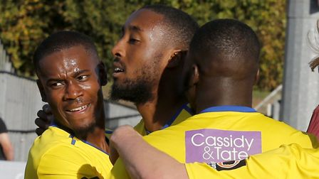 St Albans City celebrate the equaliser. Picture: LEIGH PAGE