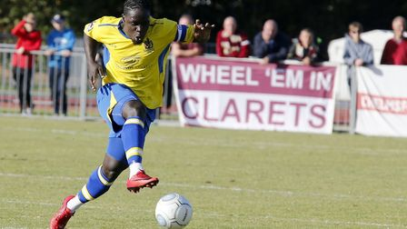 Solomon Sambou in action against Chelmsford City. Picture: LEIGH PAGE