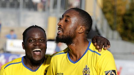 Solomon Sambou celebrates with Ralston Gabriel following the Saints third goal of the game. Picture: