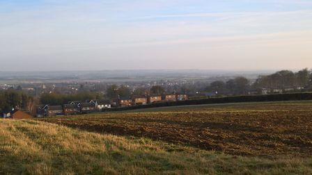 The Gladman proposed development site from the southern end looking north towards Echo Hill in Royst