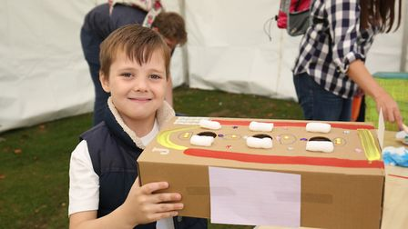 Jack Mepham, six, with his decorated box at the Royston Arts Festival 2018. Picture: DANNY LOO